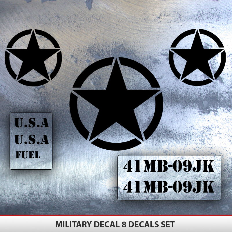 Fj Cruiser Sticker >> Jeep Military Decal Set 8 Decals