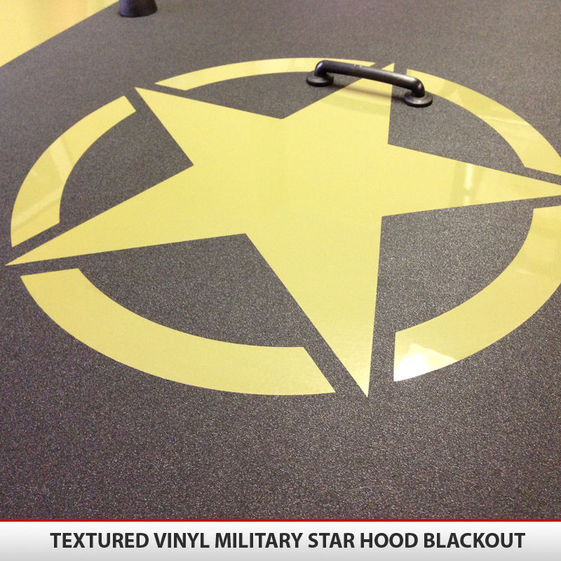 Jeep Wrangler JK Military Star Hood Blackout Textured Vinyl