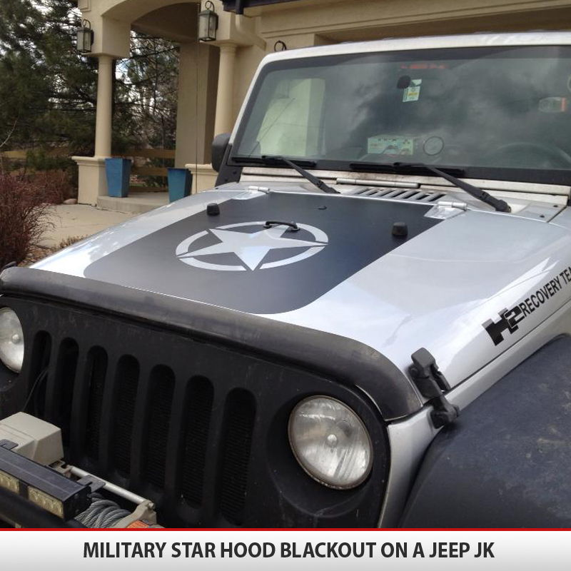 Jeep Wrangler Military Star Hood Blackoutl