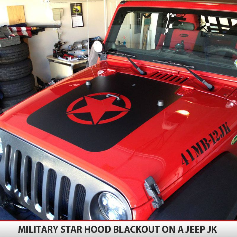 Jeep Wrangler Military Star Hood Blackoutl JK TJ YJ