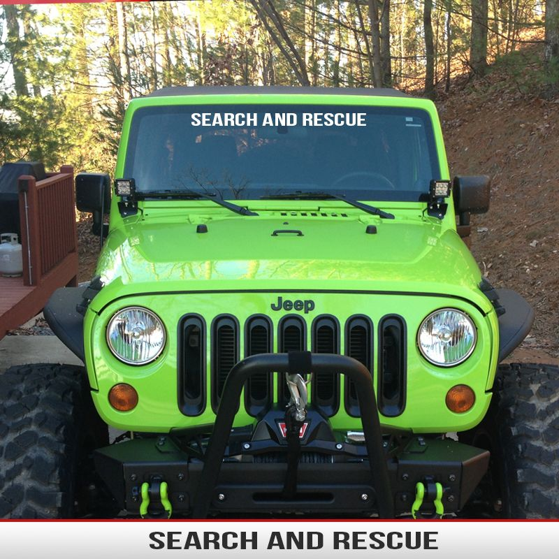 jeep windshield banner search rescue decal fits wrangler