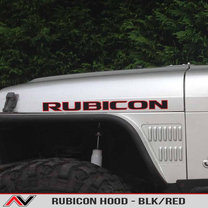 Jeep Xj Hood RUBICON - Hood Decal Blk/Red