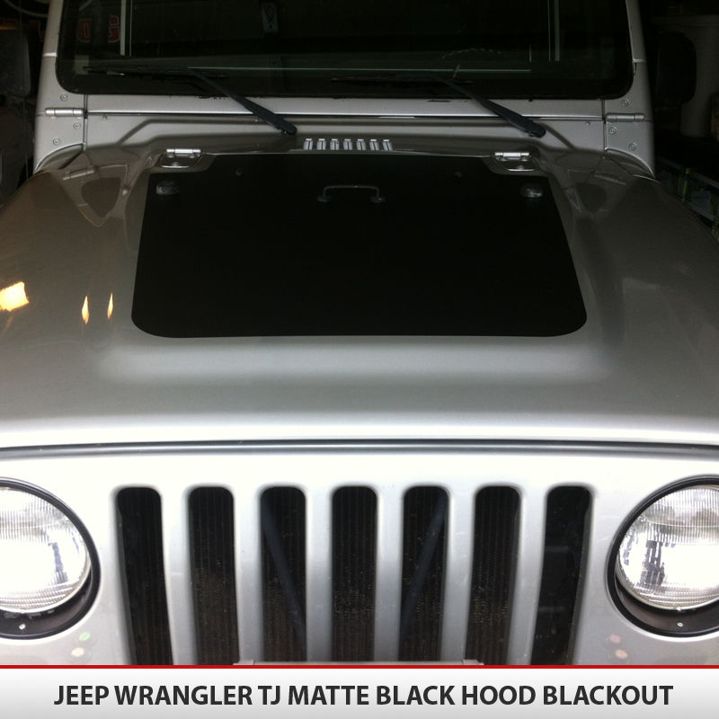 Hood Blackout Vinyl Decal For Jeep Wrangler TJ AlphaVinyl - Jeep hood decalsmatte black jeep hood decal