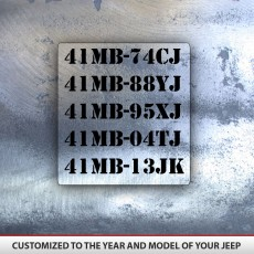 Military Jeep Decal Set 8 Decals JK TJ XJ CJ YJ Customize