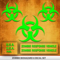 Zombie Biohazard Decal Set 8 Decals