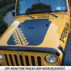 Off Road Tire Tracks Jeep Wrangler Hood Blackout Decal JK TJ YJ
