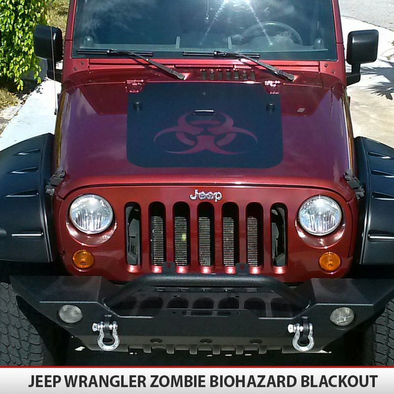 Jeep wrangler jk biohazard zombie hood blackout decal
