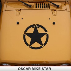 Oscar Mike Jeep Mil Hood Star Decal Wrangler JK TJ YJ