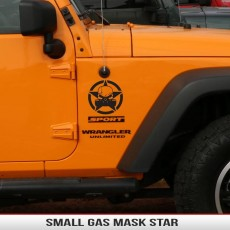 Gas Mask Zombie Biohazard Star Small Fender Decal Jeep Wrangler Cherokee