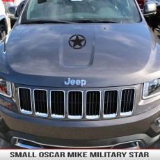 Oscar Mike Military Star Small Hood Decal Jeep Wrangler Cherokee