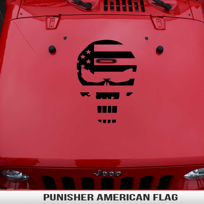 Punisher American Flag Hood Decal Jeep Wrangler Toyota Off Road Universal