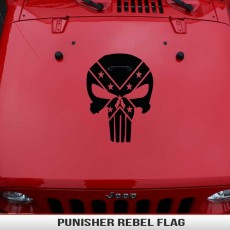 Punisher Rebel Flag Hood Decal