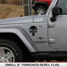 Small Punisher Rebel Flag Decal Jeep Fender Hood