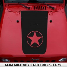Slim Military Star Hood Blackout JK TJ YJ