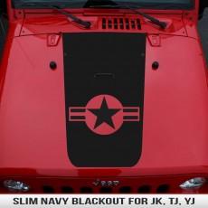 Slim Navy Wrangler Hood Blackout JK TJ YJ