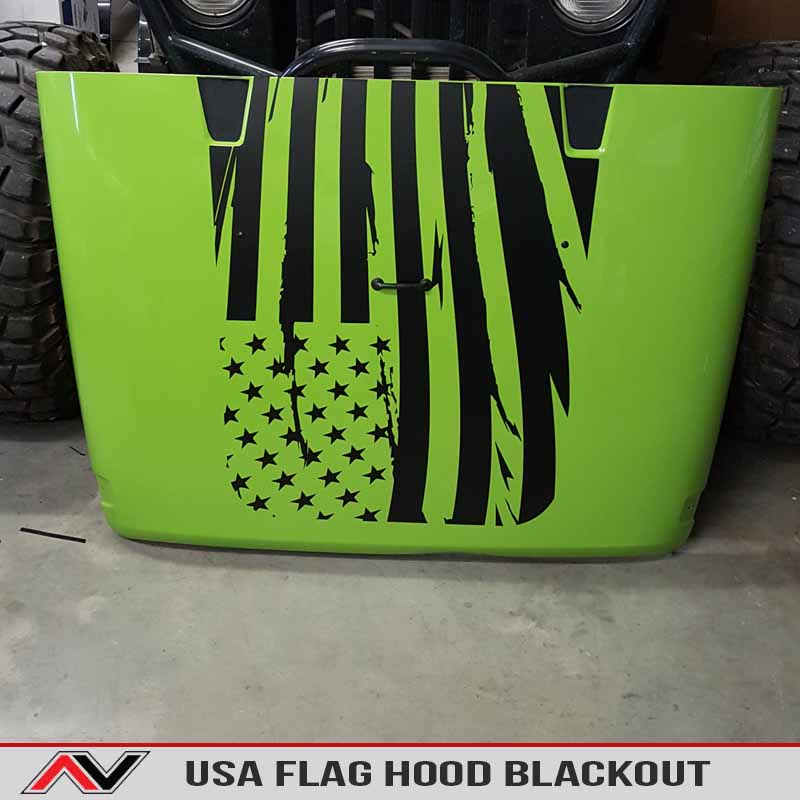 USA American Flag Jeep Hood Blackout Jk Wrangler Decal