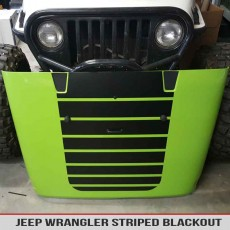 Jeep Wrangler Striped Hood Blackout