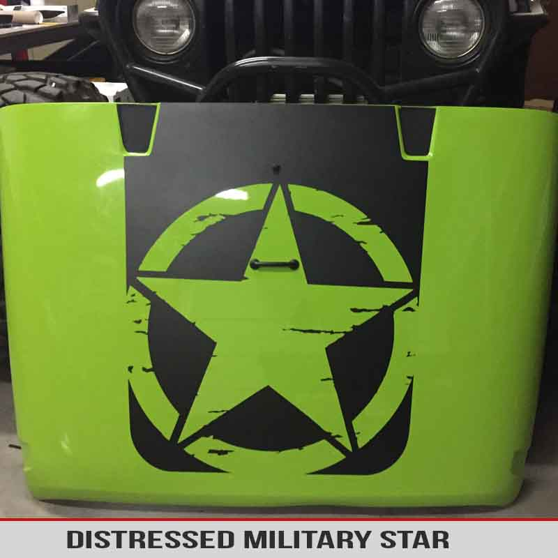 Jeep Wrangler Oscar Mike Military Star Distressed Hood Blackout Decal