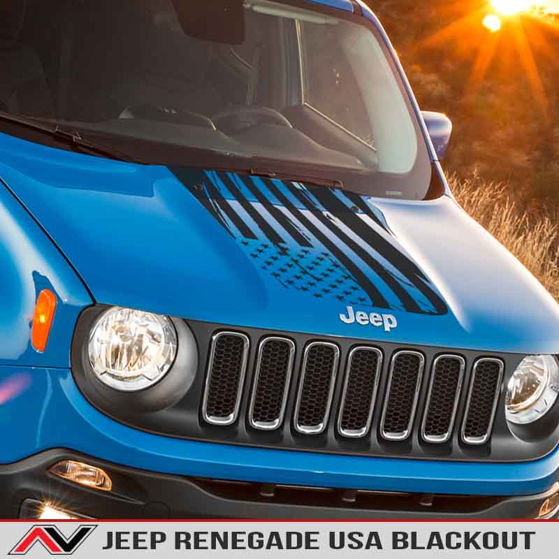 Jeep Renegade Hood Blackout Distressed American Flag Decal Vinyl Sticker