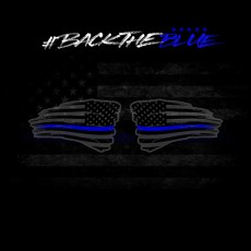 Back The Blue – [Set Of 2] Distressed American Flag (Black/Blue)
