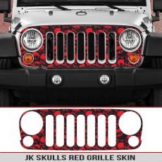 JK Jeep Wrangler Grill Skins Skulls Decal Diecut Grille Red