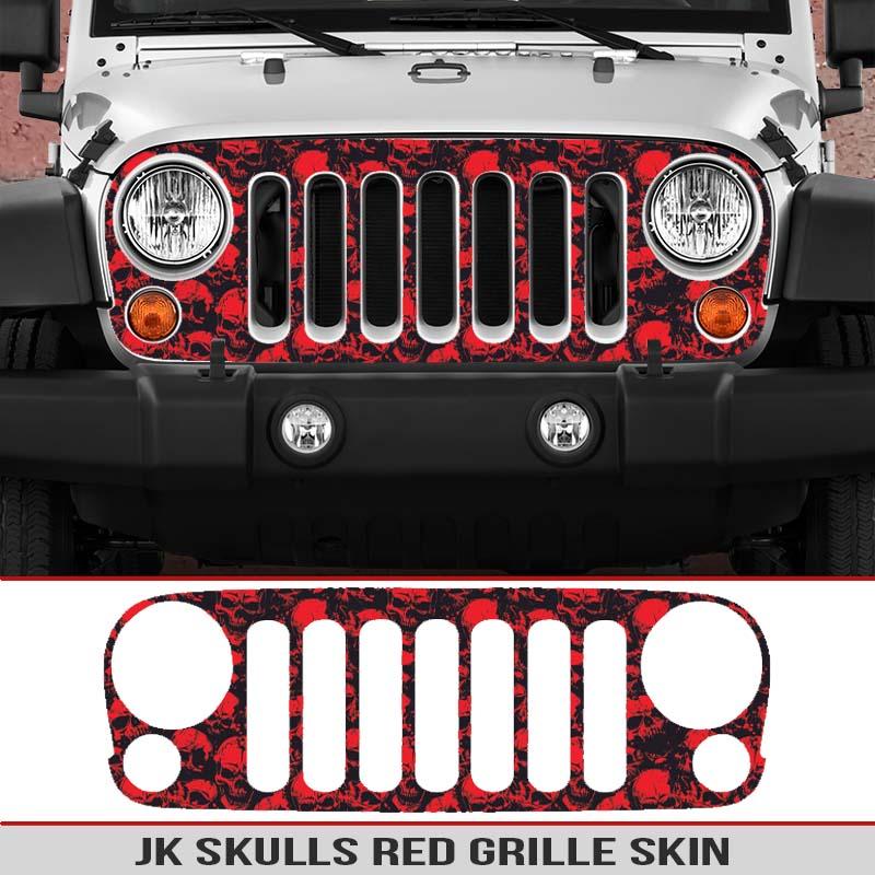 2002 Jeep Liberty For Sale >> Jeep Wrangler JK Grille Skin Skulls | AlphaVinyl