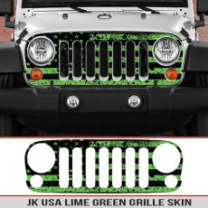 Jeep Wrangler Grille Skins Usa Wrangler Jk Distressed Decal Lime Green