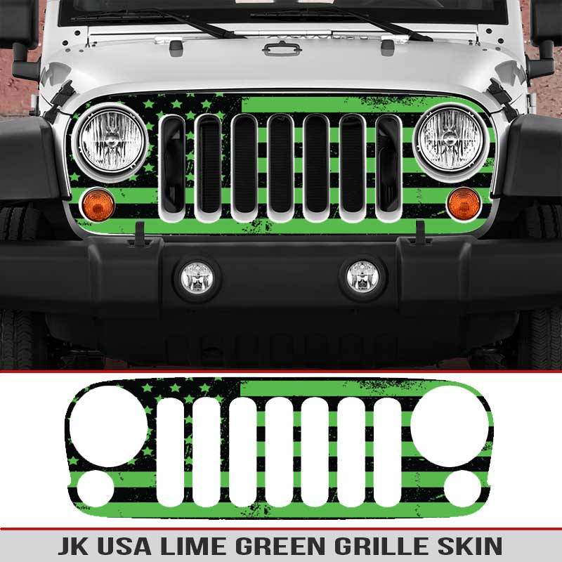 Jeep-wrangler-grille-skins-usa-wrangler-jk-distressed-decal-lime-green