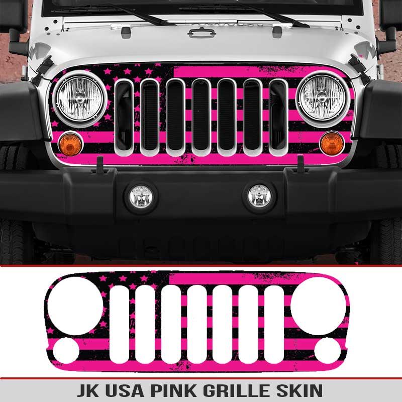 Jeep-wrangler-grille-skins-usa-wrangler-jk-distressed-decal-pink