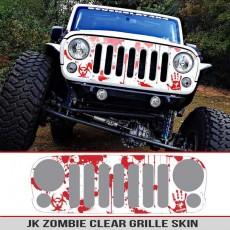 Jeep Wrangler JK Grille Skin Zombie Splatter