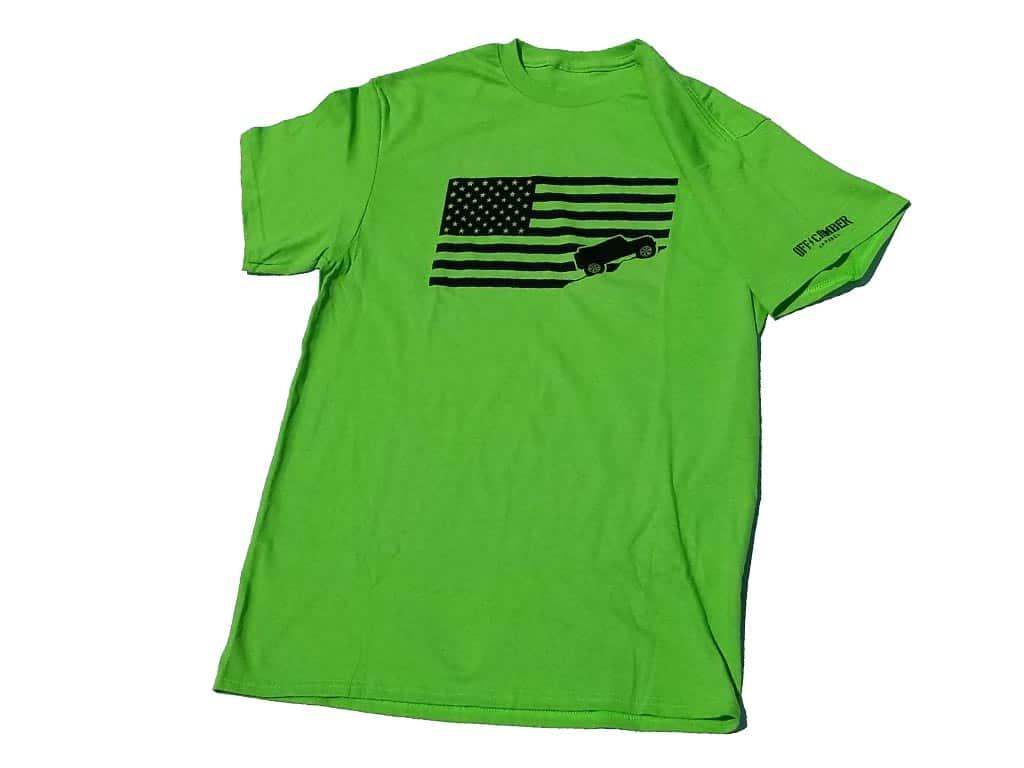 Jeep-USA-flag-lime-green-tee-shirt-jeep-shirt