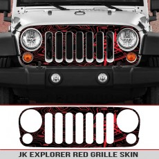 Jeep Wrangler Grille Skins Toppographic Map Wrangler Decal Red