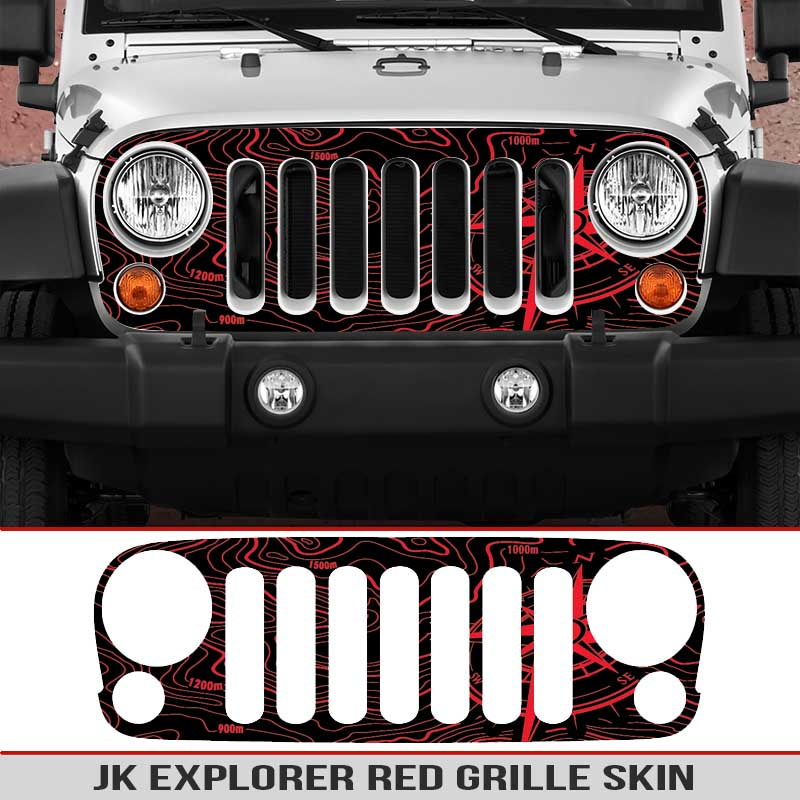 Jeep-wrangler-grille-skins-toppographic-map-wrangler-decal-red
