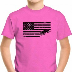 USA Flag Jeep T Shirt Distressed Youth Kids Pink