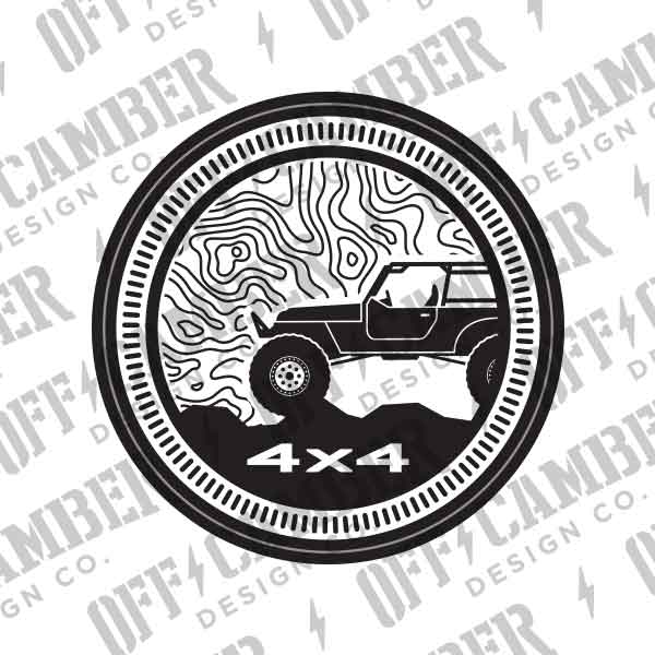 Trailrated-Badge-4×4-topographical-map-decal