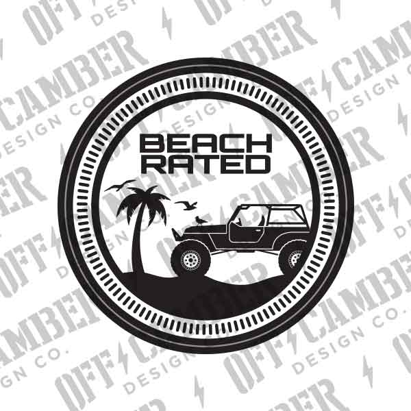 Jeep Beach Rated Badge Fender Decal