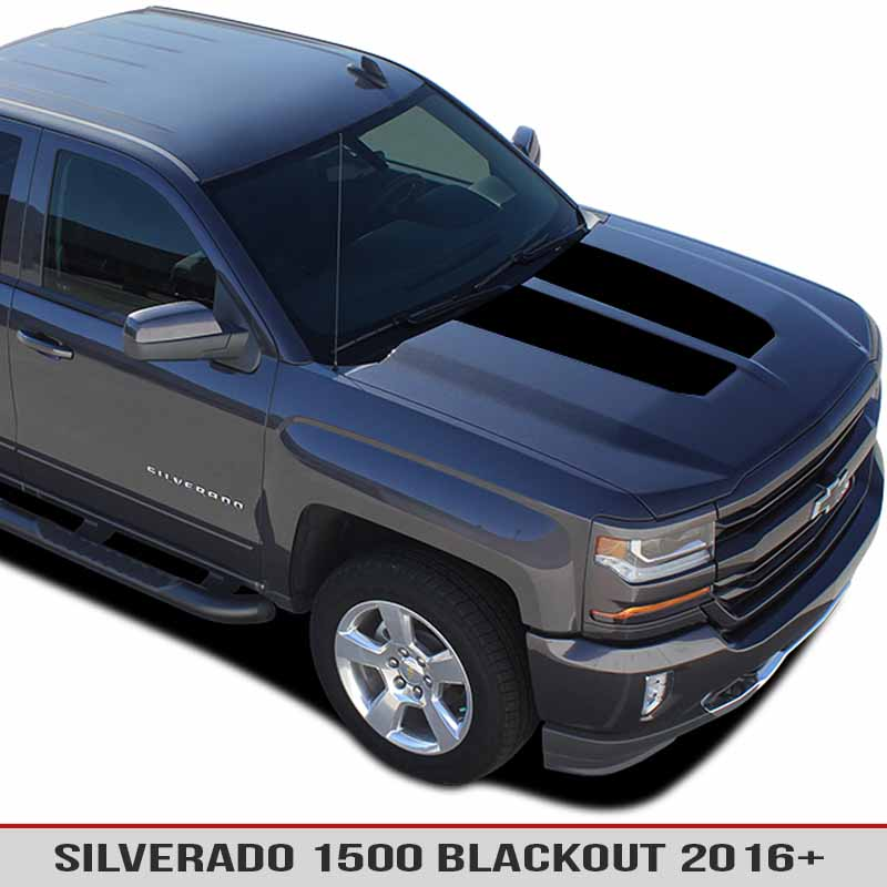 hood blackout vinyl decal for chevy silverado 1500 16 17 alphavinyl. Black Bedroom Furniture Sets. Home Design Ideas