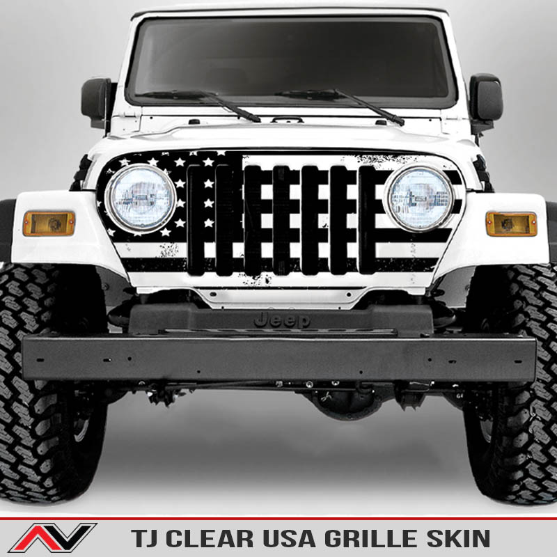 Jeep Wrangler Grille Skins Usa Wrangler Tj Distressed Decal Clear Site
