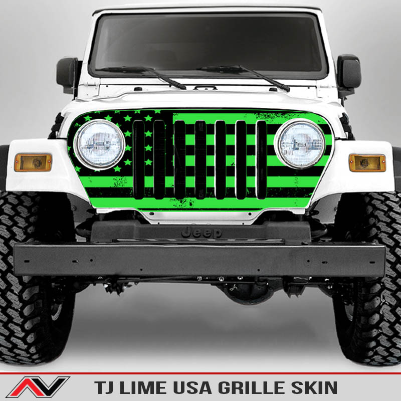 Jeep-wrangler-grille-skins-usa-wrangler-tj-distressed-decal-lime-green-decal1