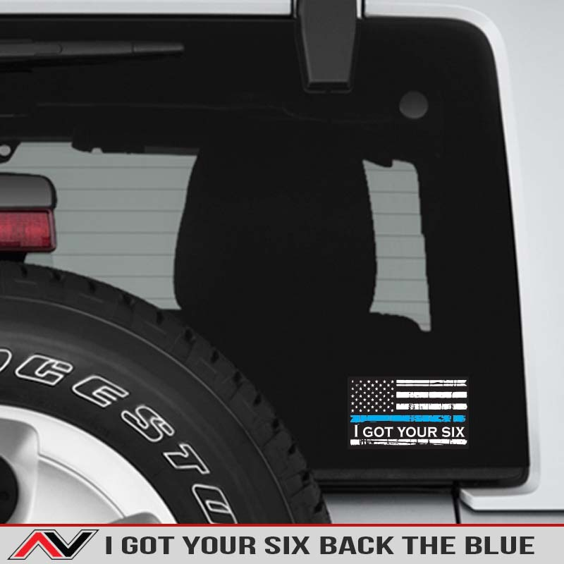 I-got-your-six-6-back-the-blue-decal-jeep-truck-offroad-support-police-blue-lifes-matter