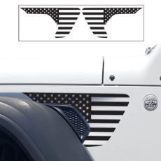 JL Side Scoop Fender USA Decals With Multi Color Stripes