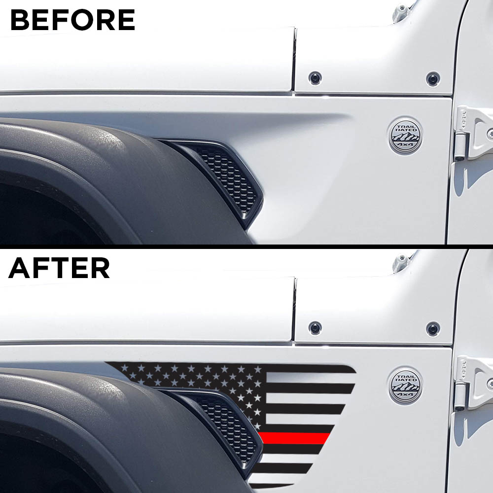 jeep-wrangler-JL-fender-usa-decal-before-after-Thin-Red-Line-firefighter